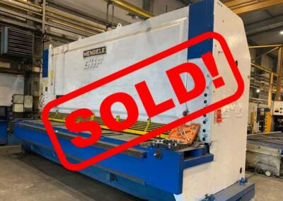 #05316 Hydraulic shears german MENGELE S-12-5000 – 5050mm x 12/15mm – incl. set of new spare knives + loading conveyor – sold to Cambodia